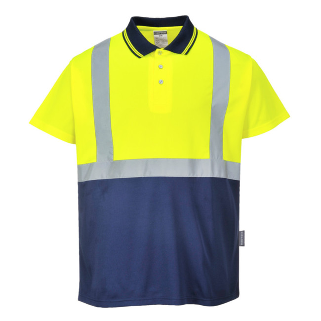 Portwest Two-Tone High Visibility Polo - S479 Yellow/Navy with Reflective Trim
