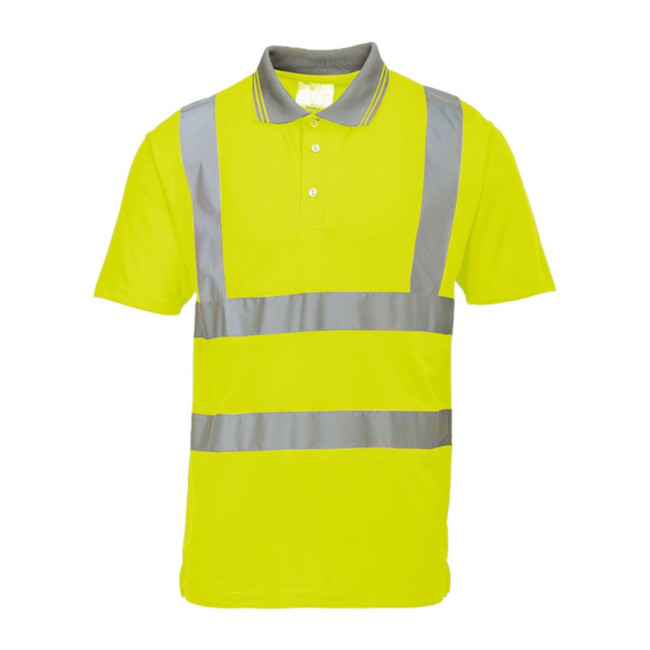 Portwest Hi-Vis Short Sleeve High Visibility Polo - S477 Yellow with Reflective Trim