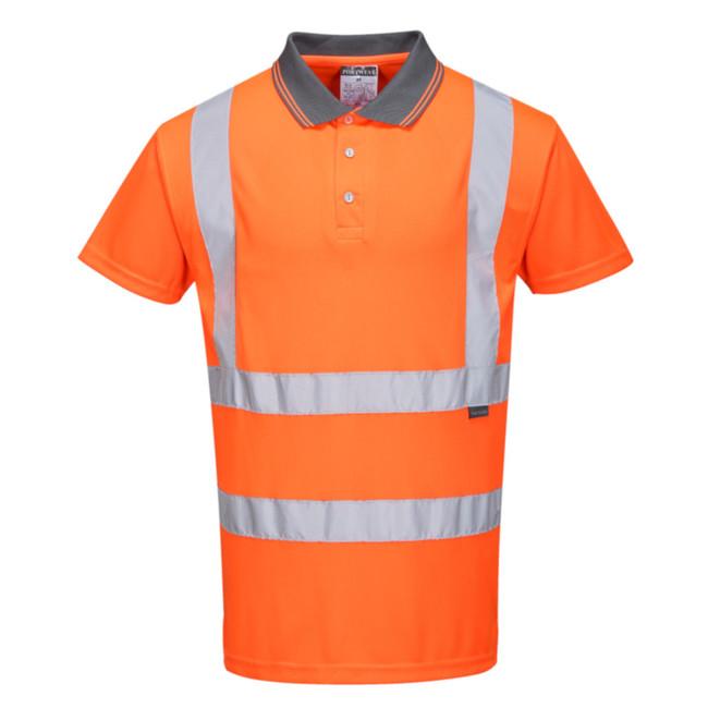 Portwest Hi-Vis Short Sleeve Hi Vis Polo - RT22 Orange with Reflective Trim