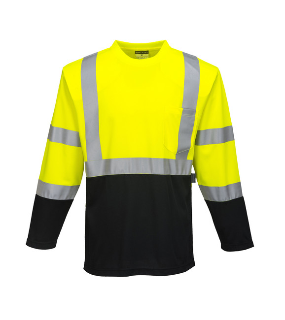 Portwest Laguna Long Sleeve Hi Vis T-Shirt - S398 Yellow/Black with Reflective Trim