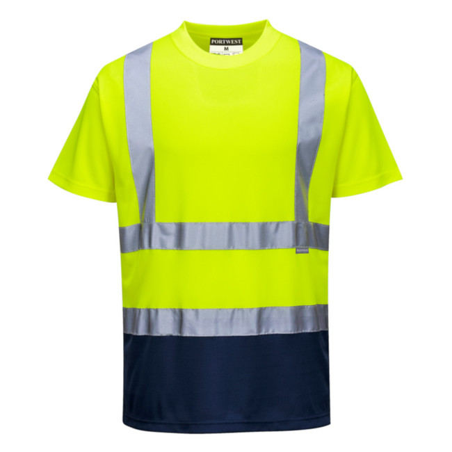 Portwest Two-Tone Hi Vis T-Shirt - S378 Yellow/Navy with Reflective Tape