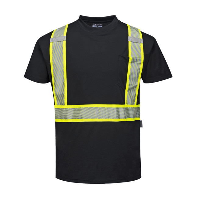 Portwest Iona Xtra Short Sleeved Hi Vis T-Shirt - S396 Black with Reflective Trim