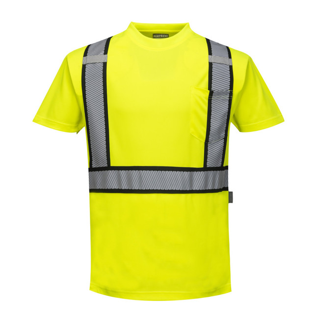 Portwest Detroit Short Sleeved T-Shirt - S395 Yellow/Black with Reflective Trim