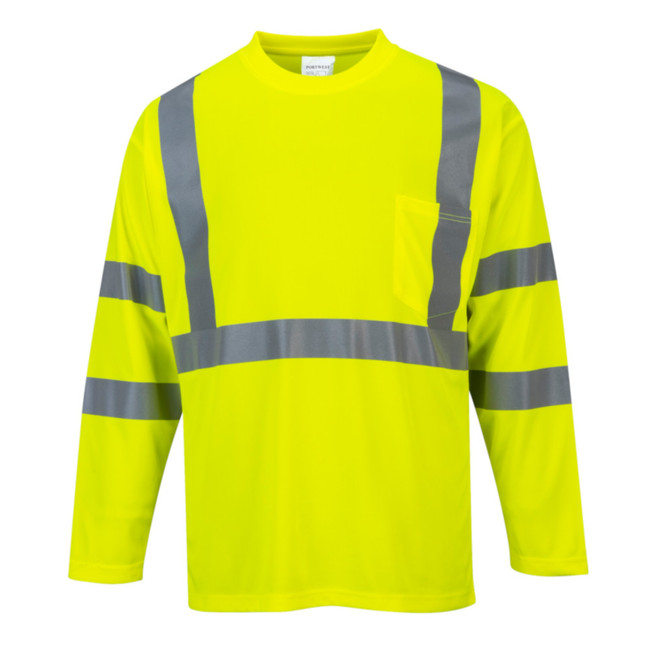 Portwest Long Sleeve High Visibility Pocket T-Shirt - S191 Yellow with Reflective Trim