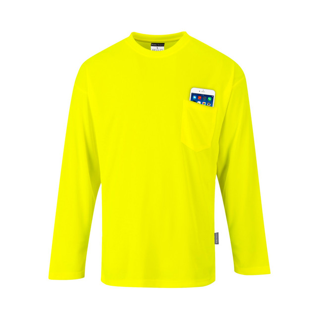 Portwest Non ANSI Pocket Long Sleeve Hi Vis T-Shirt - S579 Yellow