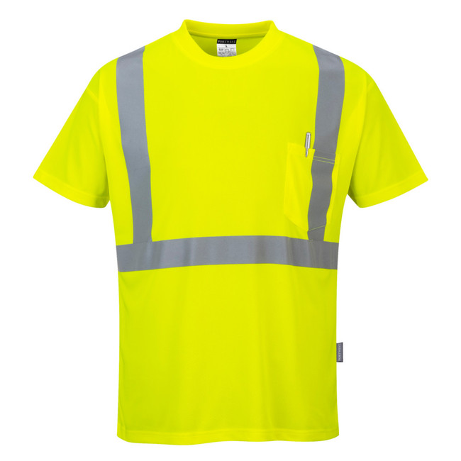 Portwest Hi-Visibility Pocket T-Shirt - S190 Yellow with Reflective Trim