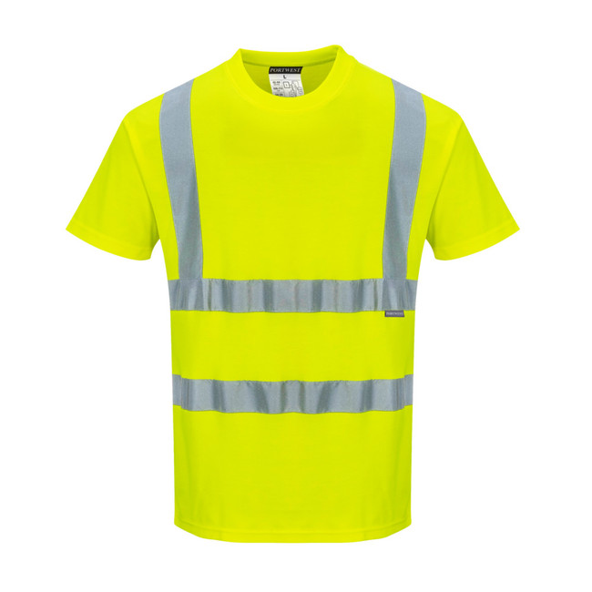 Portwest Cotton Comfort Short Sleeved High Visibility T-Shirt - S170 Yellow with Reflective Tape