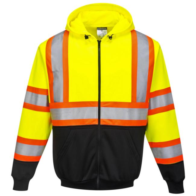 Portwest Kansas Zipped High Visibility Hoodie - UB316 Yellow Black