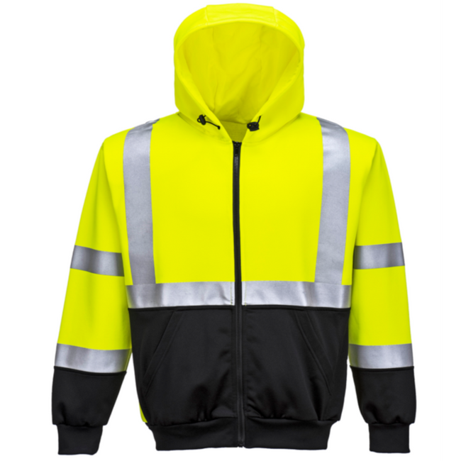 Portwest Hi-Vis Two-Tone Zipped Hoodie - UB315 Yellow Black High Visibility