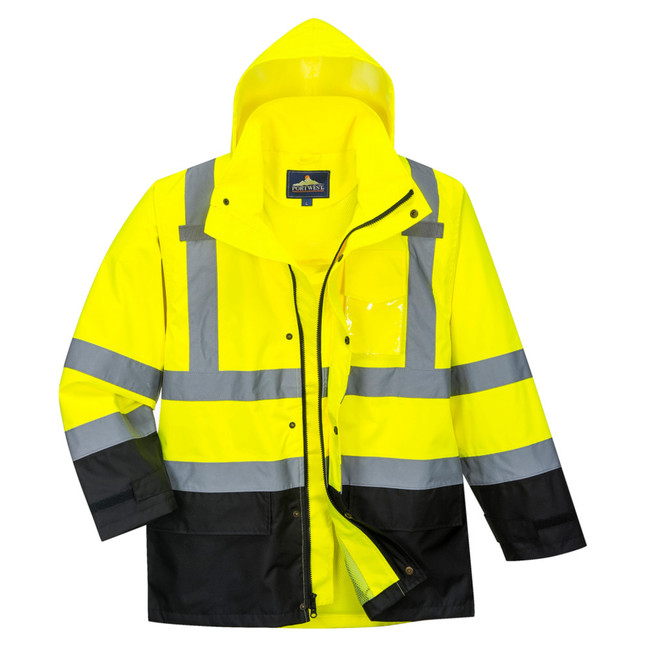 Portwest High Visibility Contrast Rain Jacket - US366 Front View