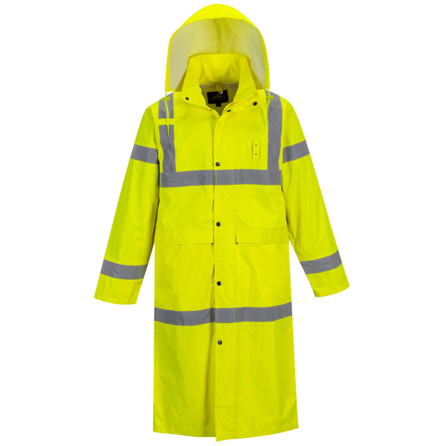 "Portwest Hi-Vis Classic Rain Coat 48"" - UH445 Front View"