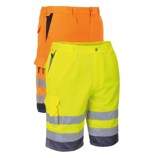 Portwest Hi-Vis Polycotton Shorts - E043 - Reflective Safety Shorts in Yellow or Orange with Reflective Tape