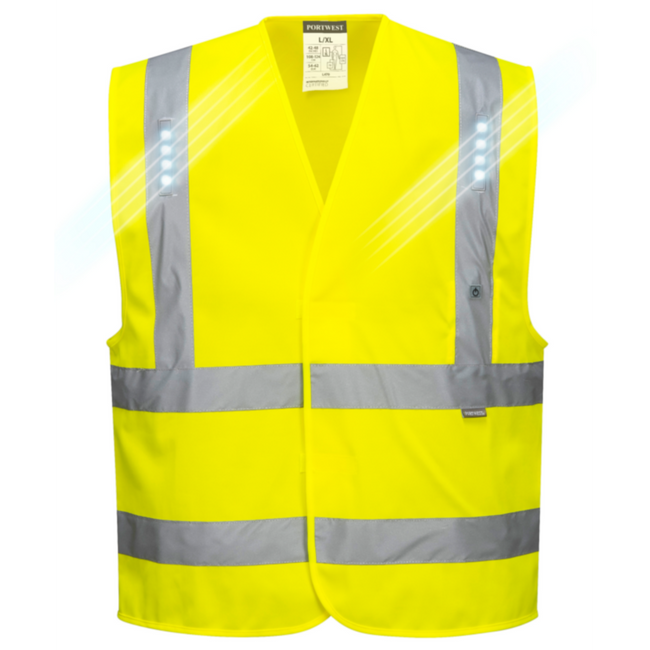 Portwest Vega Hi Vis Vest with LED Light - L470 Yellow with Reflective Tape and LED Light