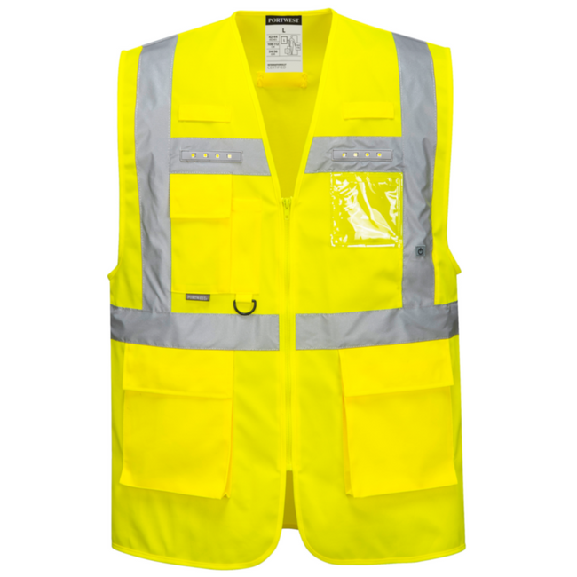 Portwest Orion High Visibility Executive Vest with LED Light - L476 Yellow with Reflective Tape and LED Lights