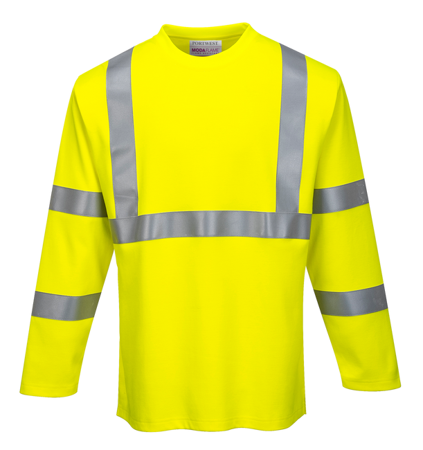 Portwest Flame Resistant High Visibility Long Sleeve T-Shirt - FR96