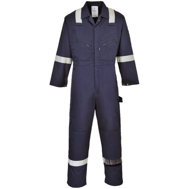 Portwest Iona Polycotton Coverall - F813 Navy with Reflective Tape