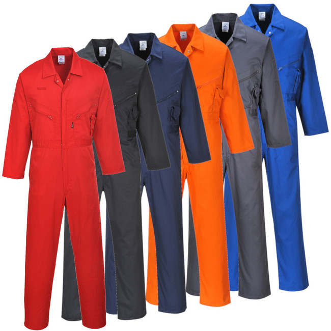 Portwest Liverpool Zipper Coverall - C813 in 6 color options Red, Royal Blue, Navy, Graphite Gray, Orange, Black