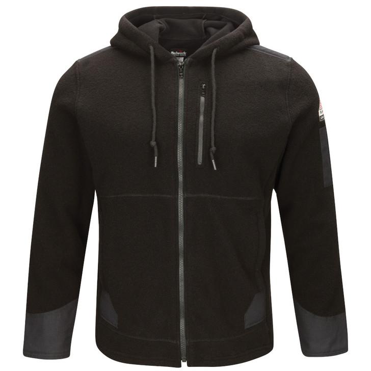 Bulwark FR Men's Front Zip Modacrylic Blend Fleece Hoodie - SMH8BK