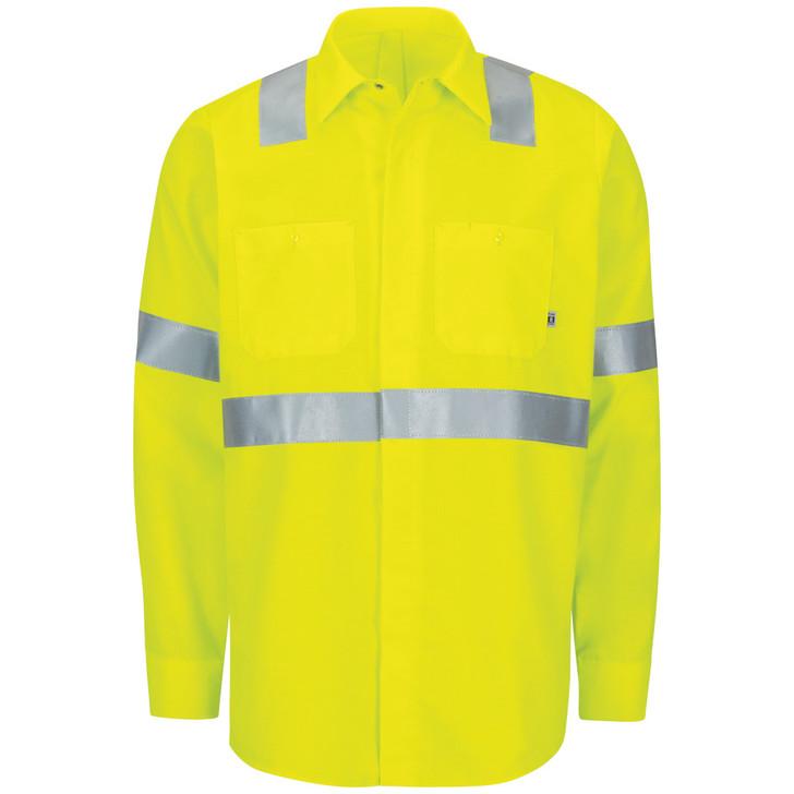 Red Kap Men's Hi-Visibility Ripstop Work Shirt with MIMIX & OilBlok Type R Class 2 - SX14HV