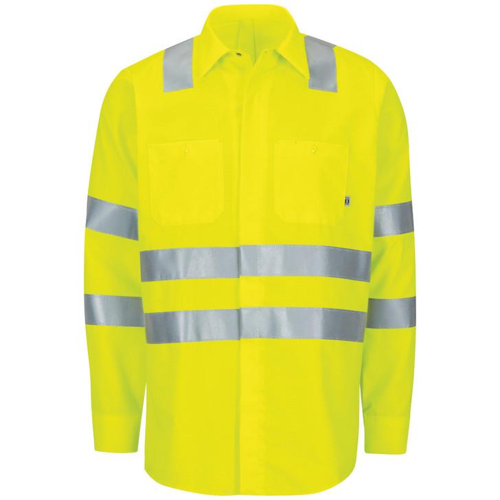 Red Kap Men's Long Sleeve  Hi-Visibility Ripstop Work Shirt with MIMIX & OilBlok Type R Class 3 - SX14AB