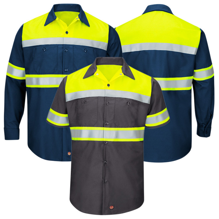 Red Kap Men's Hi-Visibility Ripstop Work Shirt Type 0 Class 1 - SY70 / SY80