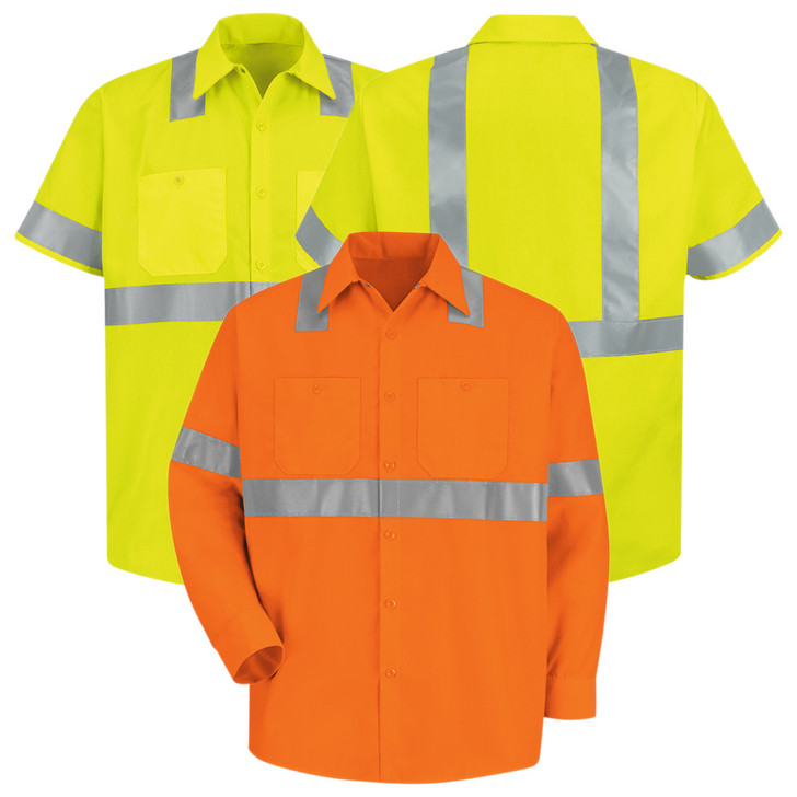 Red Kap Men's Hi-Visibility Polyester Work Shirt Type R Class 2 - SS24 / SS14