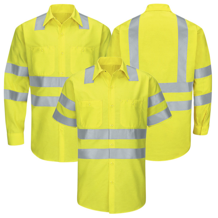 Red Kap Men's Hi-Visibility Ripstop Work Shirt Type R Class 3 - SY24AB / SY14AB Fluorescent Yellow Green