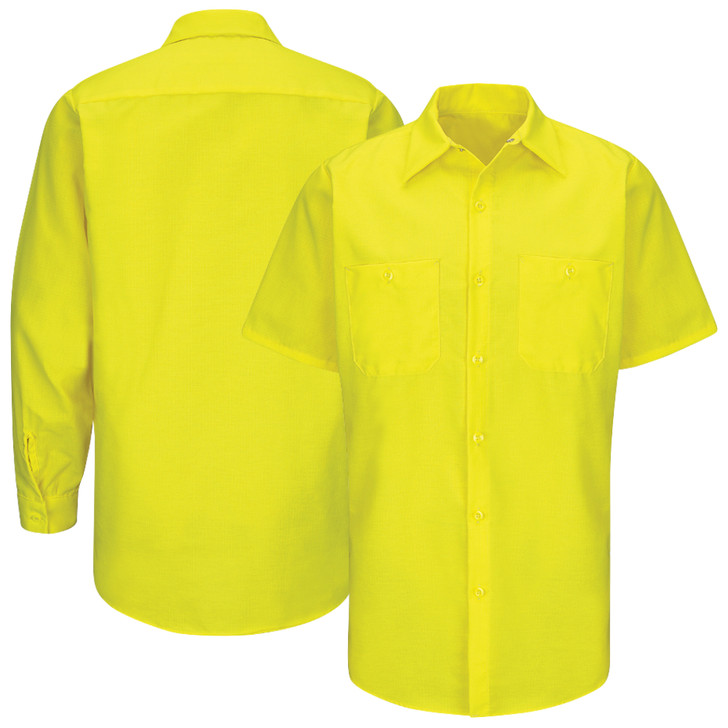 Enhanced Visibility Ripstop Work Shirt SY24YE SY14YE, Fluorescent Yellow/Green Ripstop