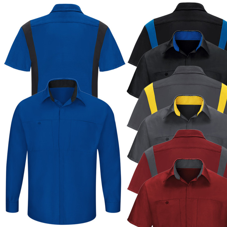 Red Kap Men's Performance Plus Shop Shirt with Oilblock Technology - SY32 / SY42 - 8 Color Options Short or Long Sleeve