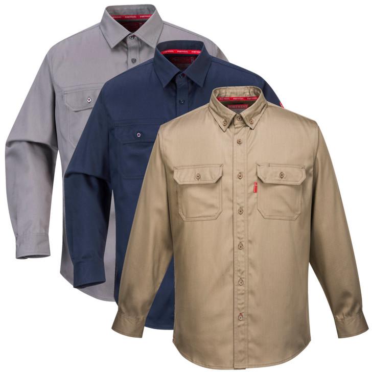 Portwest Bizflame Flame Resistant Shirt - FR89 Gray Navy or Khaki