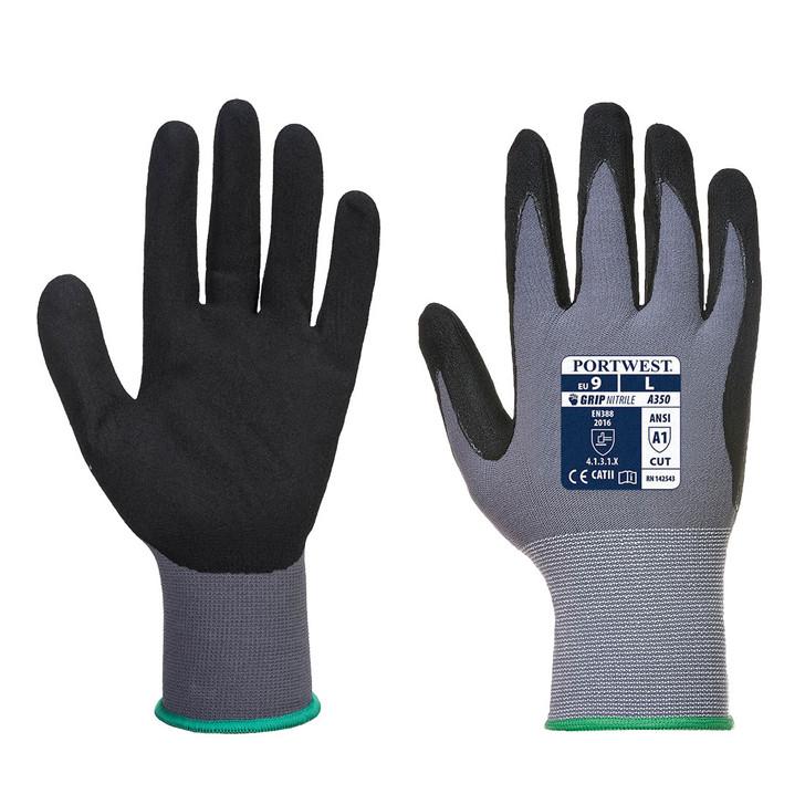 Portwest A351 DermiFlex Plus Handling Glove with PU//Nitrile Foam Palm Grip ANSI