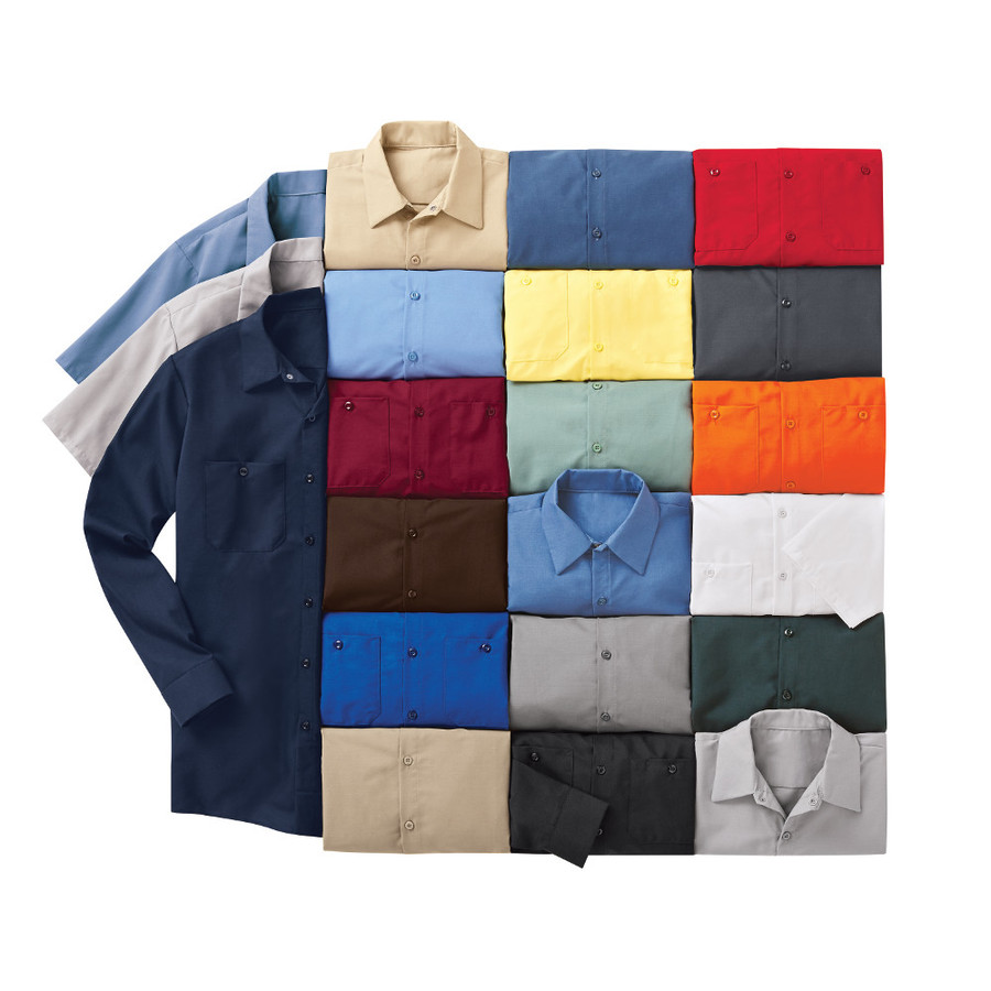 Red Kap Men's Industrial Solid Work Shirt, 21 Colors, Long Sleeve and Short Sleeve, SP24, SP14