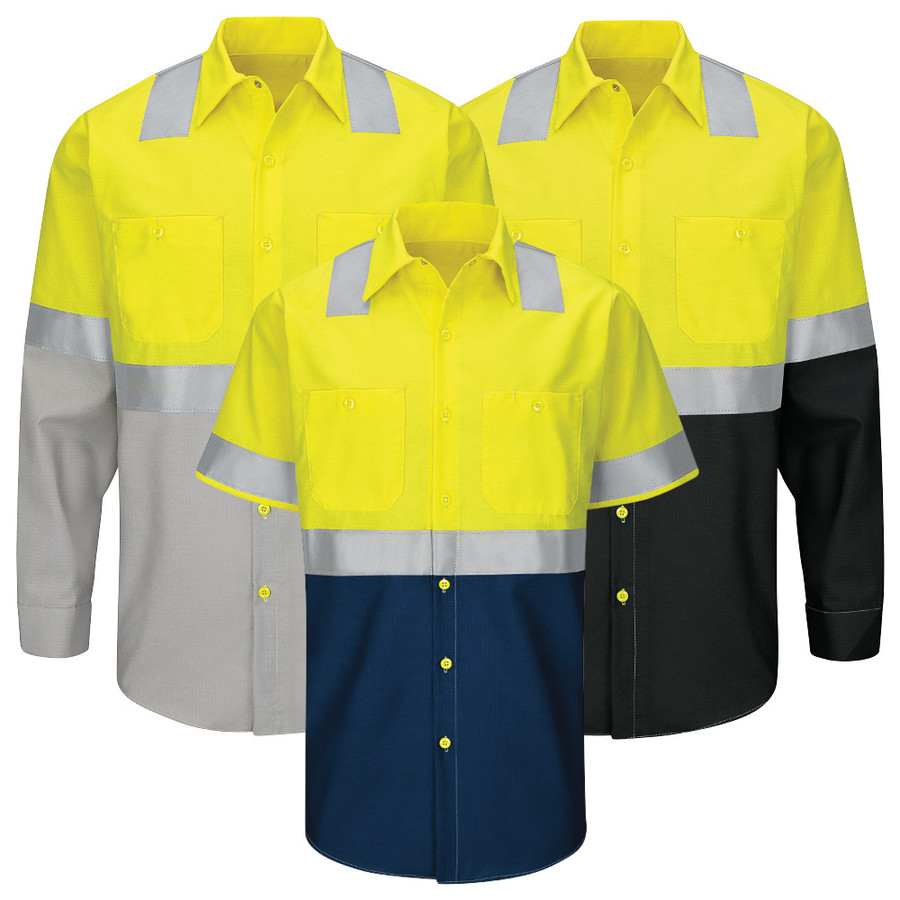 Red Kap Men's Hi-Visibility Ripstop Work Shirt Type R Class 2 - SY24 / SY14 - Yellow/Green with Grey, Navy or Black