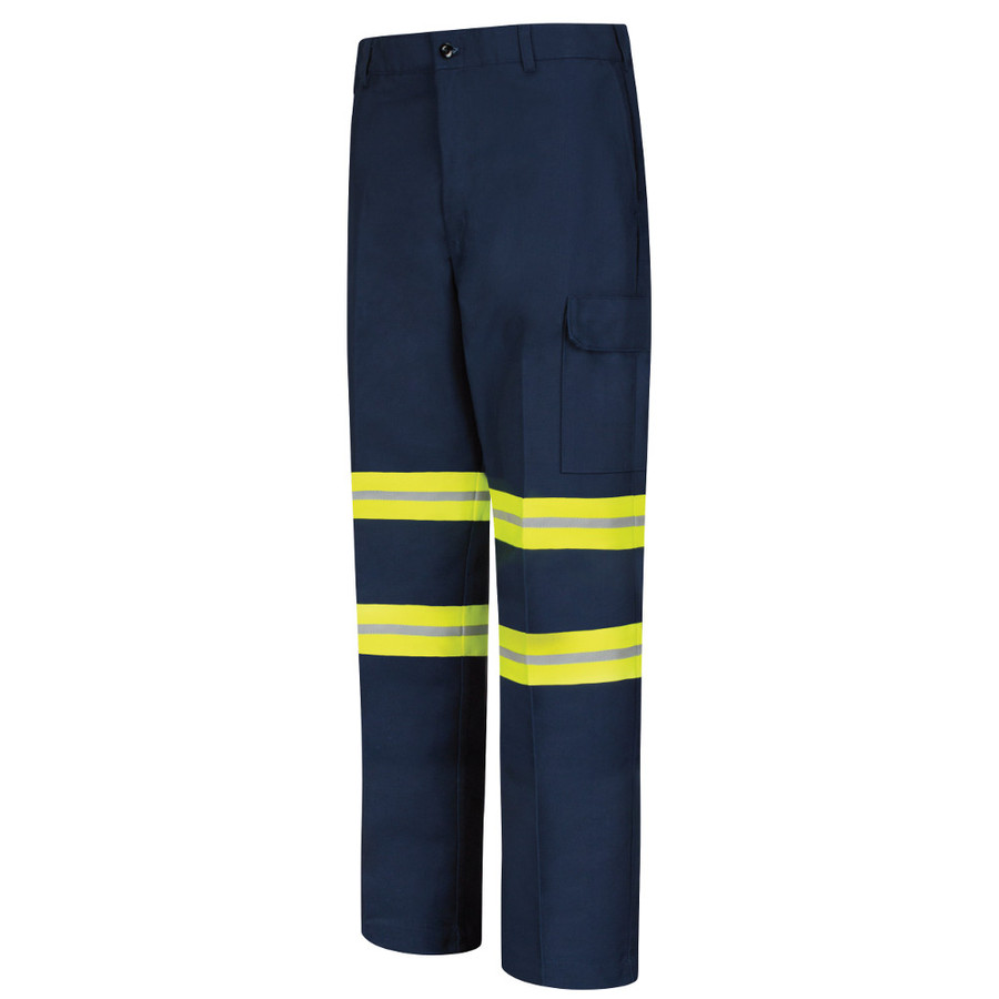 Red Kap Men's Enhanced Visibility Industrial Cargo Pant - PT88EN Navy with Yellow/Silver Fluorescent Trim