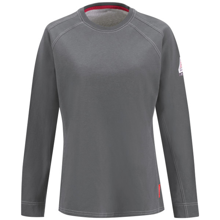 Bulwark FR iQ Series Comfort Knit Women's Tee - QT31 Charcoal Front View