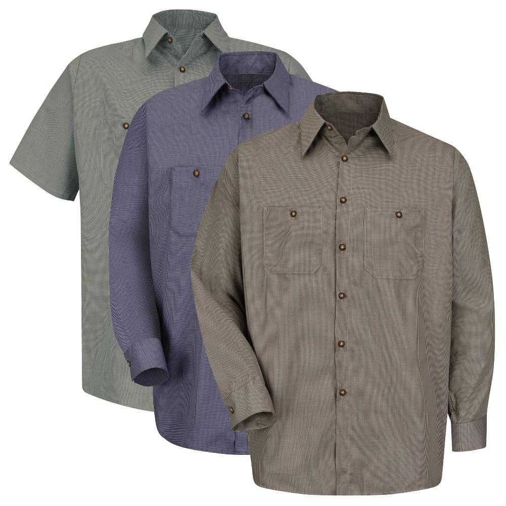 4806573d Micro Check Uniform Shirts for Men - Red Kap SP20 SP10 Micro