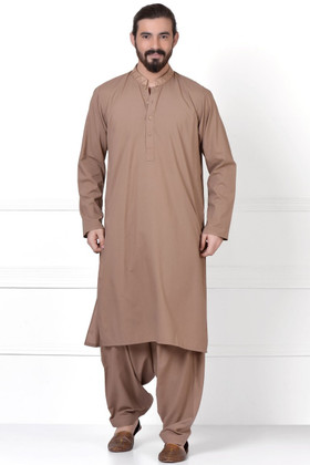 23c51d2938 Ready to Wear Embroidered Kurta Shalwar For Men Brown Color -  LC-MKSPE17602-Brown