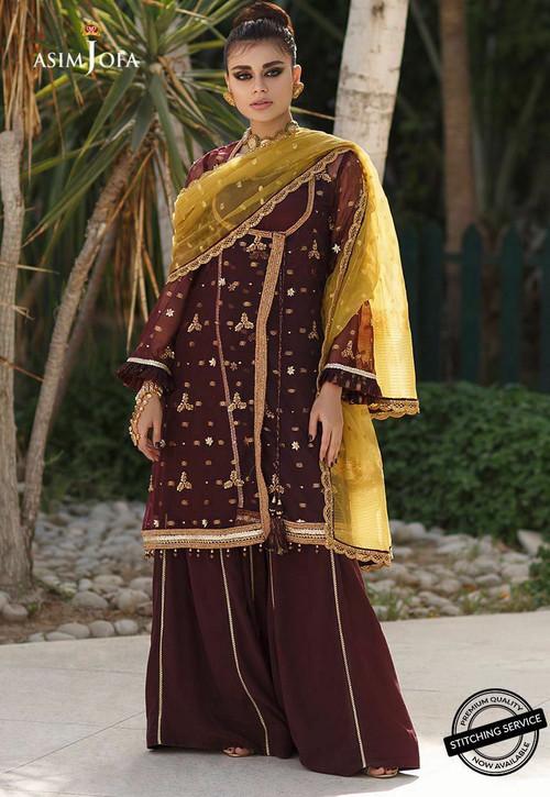Asim Jofa 3 Piece Custom Stitched Suit - Brown - ajz-04