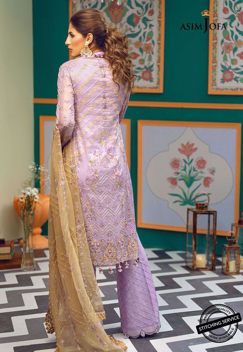Asim Jofa 3 Piece Custom Stitched Suit - ajor-04 - Purple