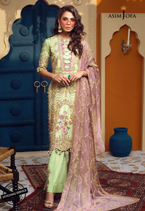 Asim Jofa 3 Piece Custom Stitched Suit - ajor-05 - Green