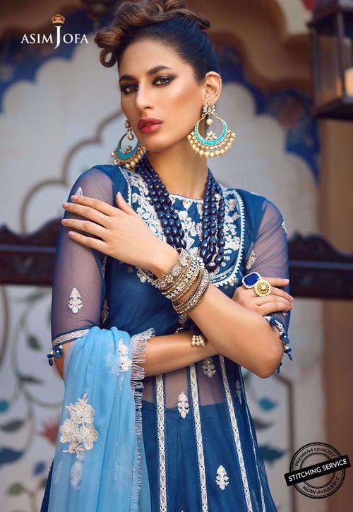 Asim Jofa 3 Piece Custom Stitched Suit - ajor-06 - Blue