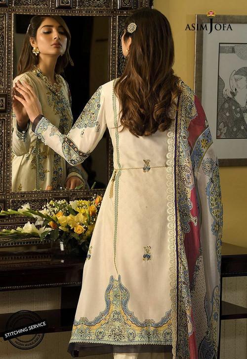 Asim Jofa 3 Piece Custom Stitched Suit - White - AJ20-L3A