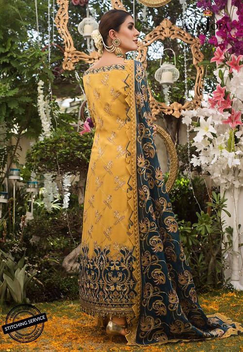 Asim Jofa 3 Piece Custom Stitched Suit - Yellow - LB14323