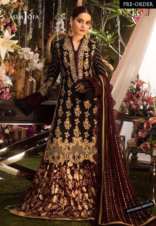 Asim Jofa 3 Piece Custom Stitched Suit - Black - LB14324