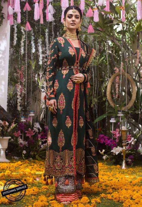 Asim Jofa 3 Piece Custom Stitched Suit - Green - LB14329