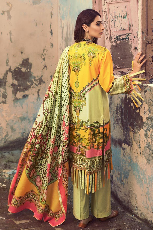 Gul Ahmed 3 Piece Custom Stitched Suit - Green - LB14585