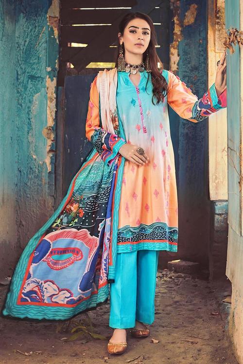 Gul Ahmed 3 Piece Custom Stitched Suit - Blue - LB14588