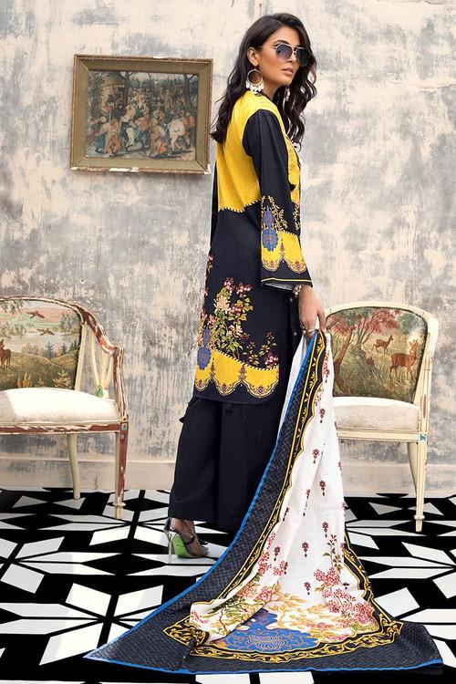 Gul Ahmed 3 Piece Custom Stitched Suit - Black - LB14591