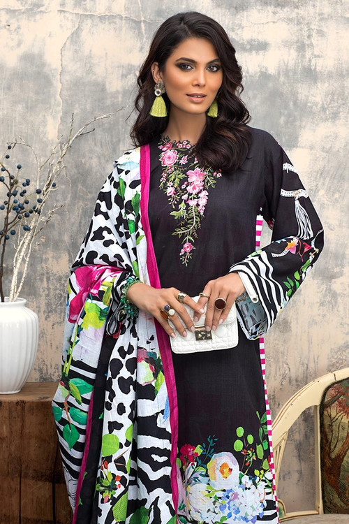 Gul Ahmed 3 Piece Custom Stitched Suit - Black - LB14593