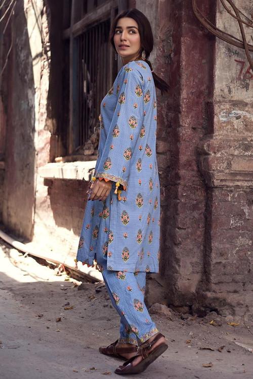 Gul Ahmed 1 Piece Custom Stitched Shirt - Blue - LB14600